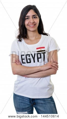 Laughing female sports fan from Egypt on an isolated white background for cut out