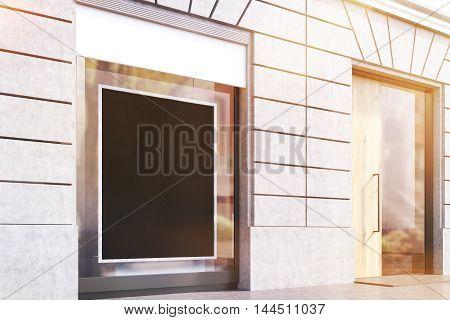 Side View Of Shop Window And Door