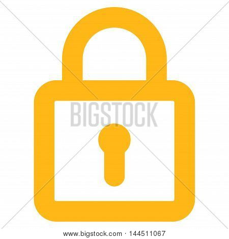Lock vector icon. Style is contour flat icon symbol, yellow color, white background.