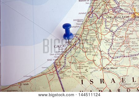 Gaza With Pushpin Illustrative Editorial