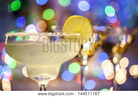 Glasses Of Margarita And Martini Cocktails