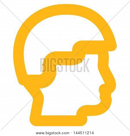 Sergeant Head vector icon. Style is linear flat icon symbol, yellow color, white background.