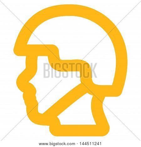 Soldier Head vector icon. Style is linear flat icon symbol, yellow color, white background.