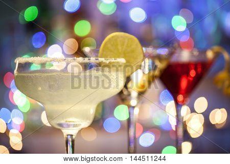 Glasses Of Margarita, Martini And Cosmopolitan Cocktails