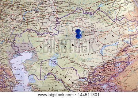 Kazakhstani With Pushpin Illustrative Editorial