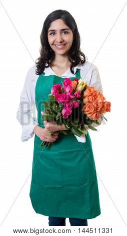Laughing arabic female florist on an isolated white background for cut out