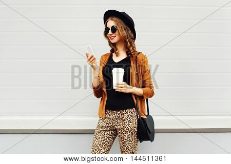 Autumn Luxury Look, Pretty Cool Smiling Young Woman With Coffee Cup Using Smartphone Walking In City