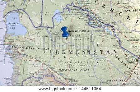 Turkmenistan With Pushpin Illustrative Editorial