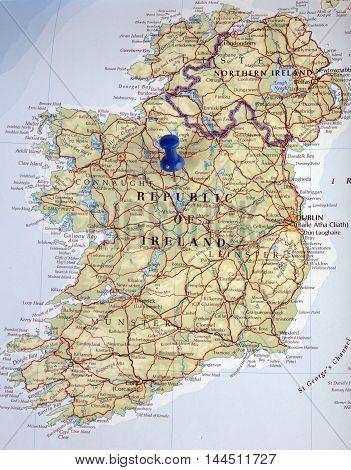 Ireland With Pushpin Illustrative Editorial