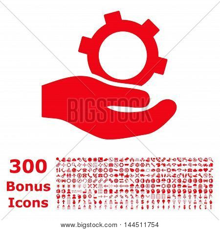 Engineering Service icon with 300 bonus icons. Vector illustration style is flat iconic symbols, red color, white background.