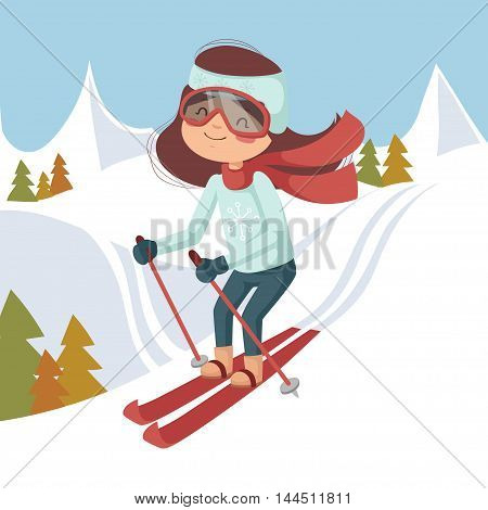 The boy on skis. Vector illustration. Background mountains and forest.