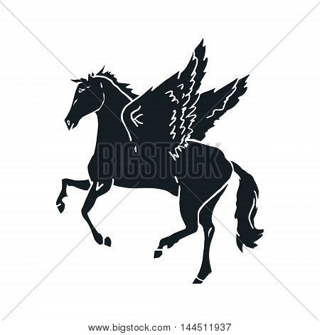 The silhouette of a Pegasus on a white background a horse with wings