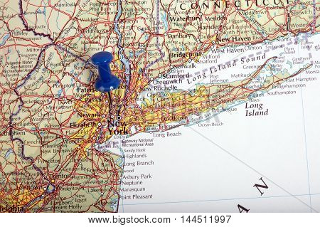Map Of New York In The Usa With Pushpin