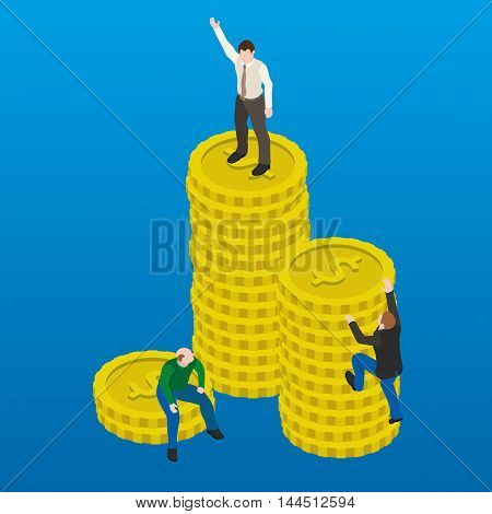 Financial success flat 3d web isometric illustration. Business concept. Happy and successful businessman winner on top of coins.