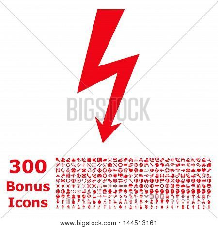 High Voltage icon with 300 bonus icons. Vector illustration style is flat iconic symbols, red color, white background.