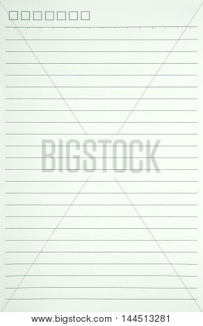 White notebook paper with line for background.