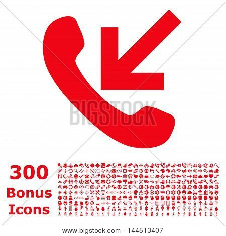 Incoming Call icon with 300 bonus icons. Vector illustration style is flat iconic symbols, red color, white background.