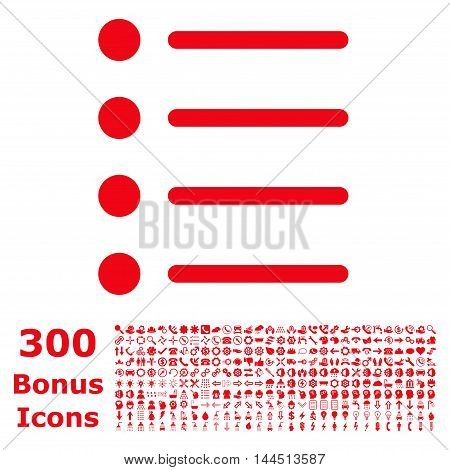 Items icon with 300 bonus icons. Vector illustration style is flat iconic symbols, red color, white background.