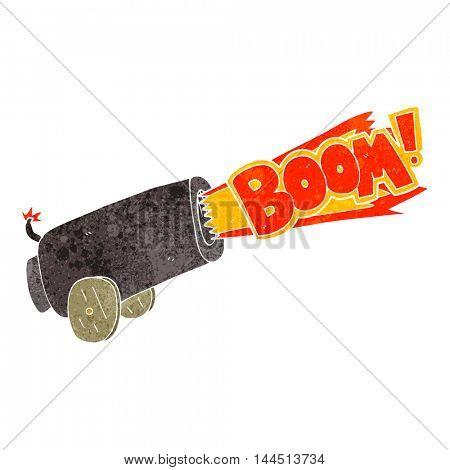 freehand retro cartoon cannon shooting