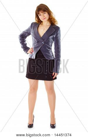 Businesswoman Standing In Stable Posture On White
