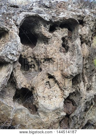 Scull shaped rock face in Alora countryside