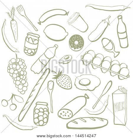 Hand drawn food doodles. Vector background