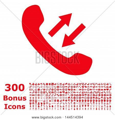 Phone Talking icon with 300 bonus icons. Vector illustration style is flat iconic symbols, red color, white background.