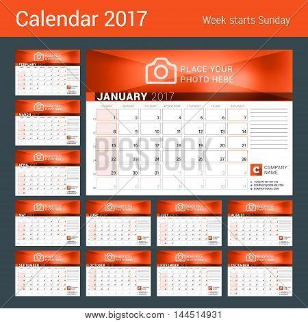 Desk Calendar For 2017 Year. Set Of 12 Months. Vector Design Print Template. Week Starts Sunday