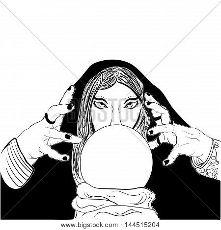 Sketchy woman fortune teller with crystal ball black white Prophetess sketch vector