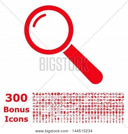 Magnifier icon with 300 bonus icons. Vector illustration style is flat iconic symbols, red color, white background.