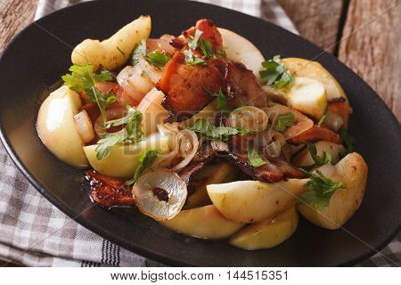 Swedish Cuisine: Fried Bacon With Onion And Stewed Green Apples Close Up. Horizontal