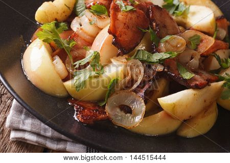 Fried Bacon With Onions And Apples Macro. Horizontal