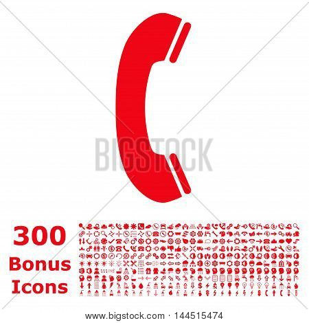 Phone Receiver icon with 300 bonus icons. Vector illustration style is flat iconic symbols, red color, white background.