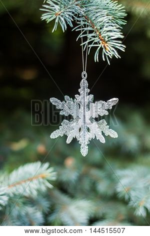Traditional Christmas or new year decorated tree with a silver snowflake toy
