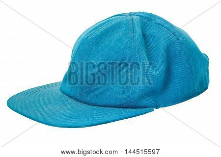 Blue cap isolated on white background and clipping path