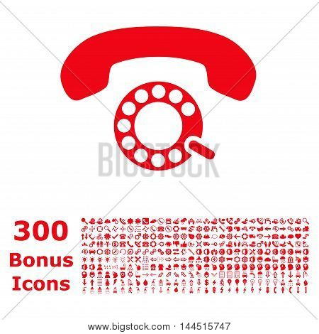 Pulse Dialing icon with 300 bonus icons. Vector illustration style is flat iconic symbols, red color, white background.