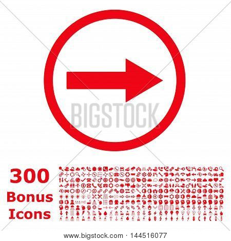 Right Rounded Arrow icon with 300 bonus icons. Vector illustration style is flat iconic symbols, red color, white background.