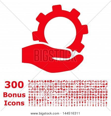 Service icon with 300 bonus icons. Vector illustration style is flat iconic symbols, red color, white background.