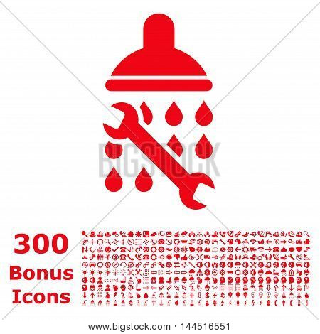 Shower Plumbing icon with 300 bonus icons. Vector illustration style is flat iconic symbols, red color, white background.