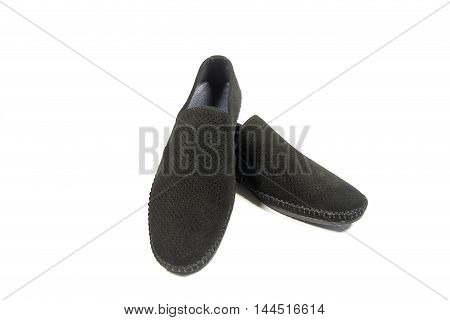 shoes mens black suede on a white background.