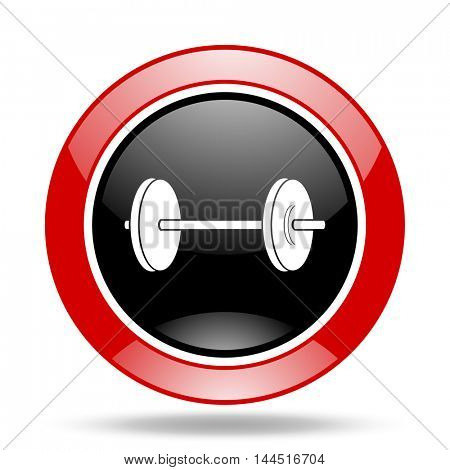 fitness round glossy red and black web icon