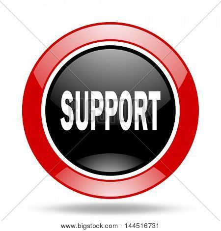 support round glossy red and black web icon