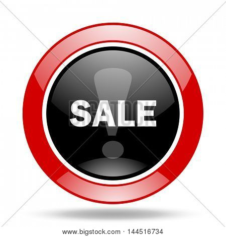 sale round glossy red and black web icon