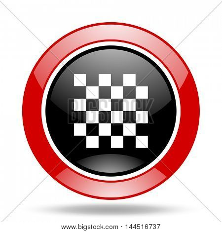 chess round glossy red and black web icon