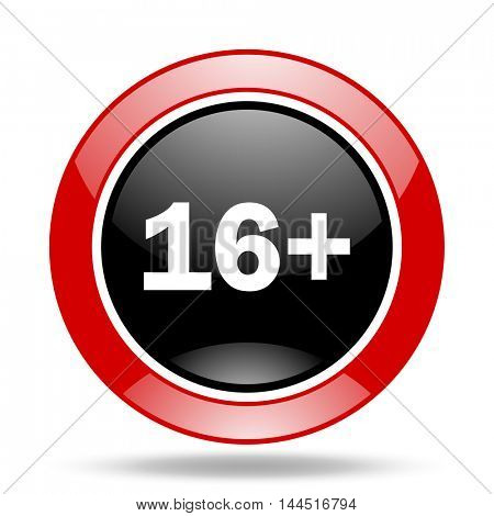 adults round glossy red and black web icon