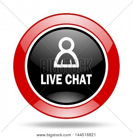 live chat round glossy red and black web icon