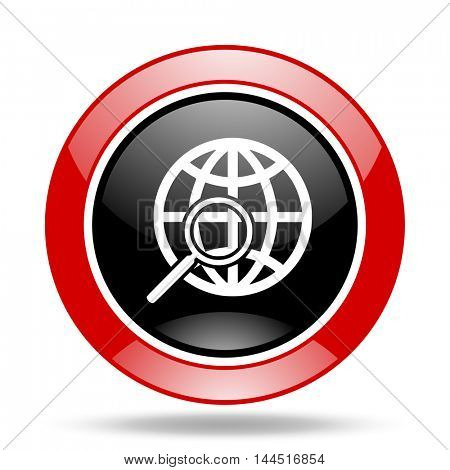 search round glossy red and black web icon