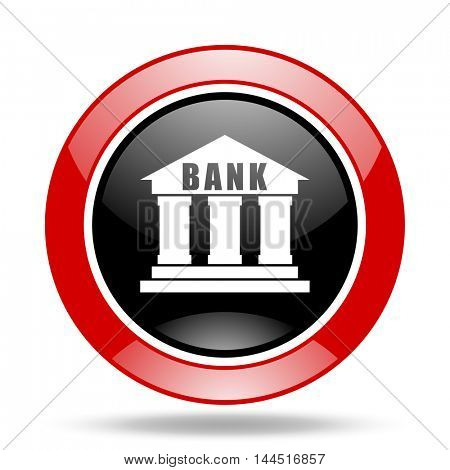 bank round glossy red and black web icon