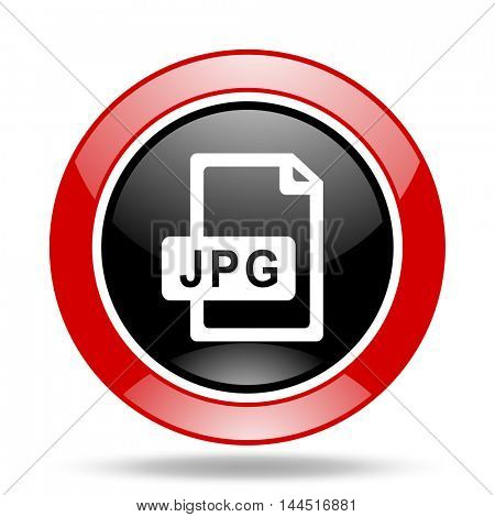jpg file round glossy red and black web icon