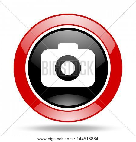 photo camera round glossy red and black web icon